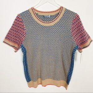 Anthropologie tan color block short sleeve sweater